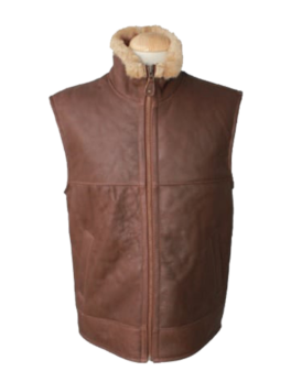 Mens-Harvey-Gilet-Leather-Sheepskin-Coat