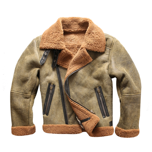 Mens-Bomber-Military-Fur-Jacket