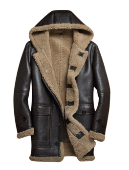 Mens-Hooded-Sheepskin-Shearling-Bomber-Long-Jacket