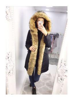 Afia-Navy-Padded-Faux-Fur-Long-Coat