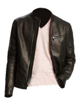 Mens-Black-Leather-Racer-Jacket