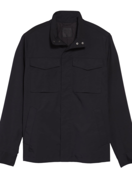 Mens-Black-Polyester-Canvas-Jacket