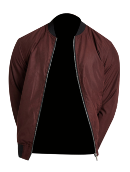Mens-Red-Polyester-Bomber-Jacket