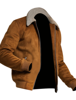 Mens-Tan-faux-suede-borg-collar-jacket