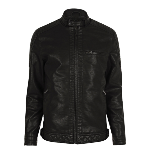 Mens-Black-Faux-Leather-Racer-Jacket