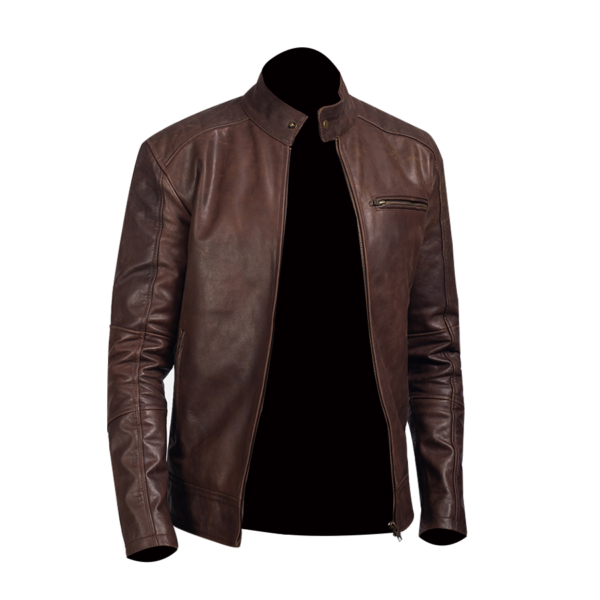 Mens-Dean-brown-Leather-Biker-Jacket