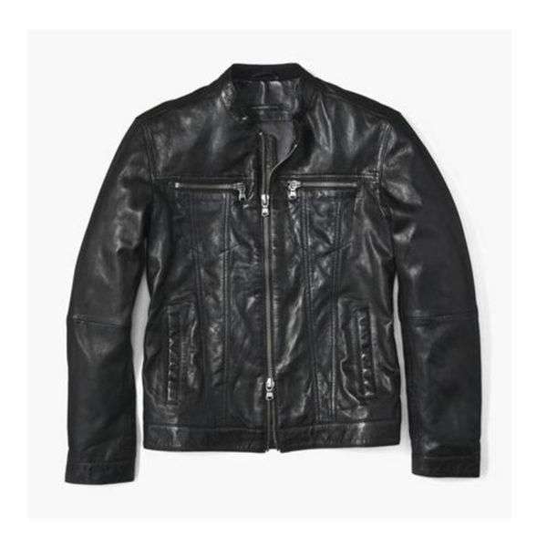 Mens-Leather-Jacket-Banded-Collar