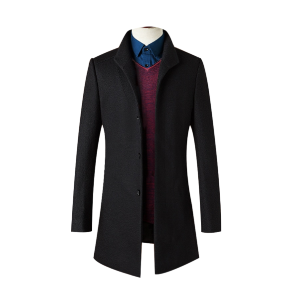 Mens-Black-High-Quality-Wool-Coat