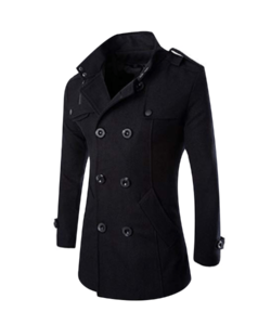 HDH Mens Double Breasted Pea Coat