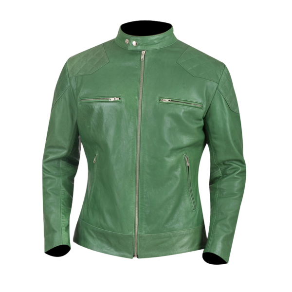 Mens-Gatsby-Green-Leather-Biker-Jacket