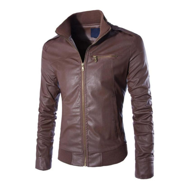 Mens-Autumn-Pearl-Faux-Leather-slim-fit bomber Jacket