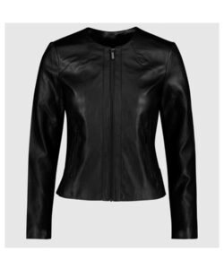Womens-Armani-Black-Faux-Leather-Jacket