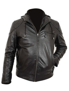 black leather sports jacket