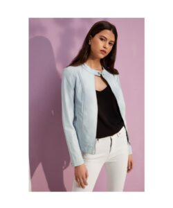 Womens-Light-Blue-Faux-Leather-Jacket