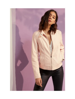 Womens-Pink-Faux-Leather-Jacket