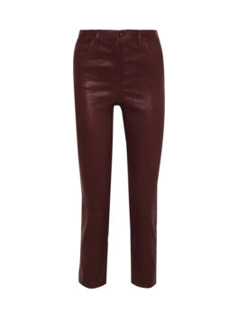 Cropped Stretch-Leather Slim-Leg pants