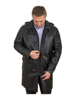 Mens-Black-Leather-Duffle-Coat
