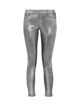 Snake-Effect Leather Skinny Pants