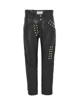 faux Pearl-Embellished Leather Pants