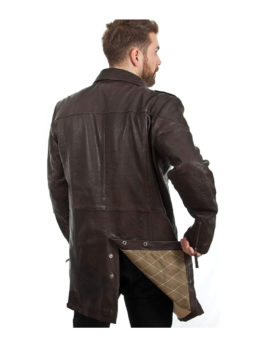 Mens-Brown-Leather-Trench-Coat