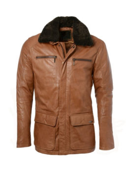 Tan-Fur-Collar-Leather-Long-Coat