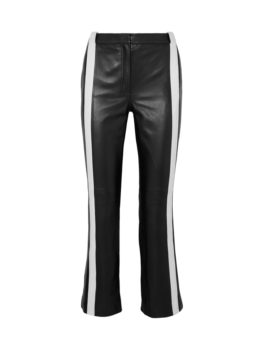 Striped Leather Kick-Flare Pants