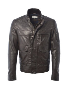 Dark-Brown-Leather-Biker-Jacket
