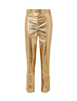 Metallic leather tapered pants