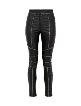 Chain-trimmed leather skinny pants