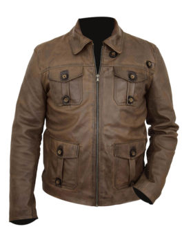 Leather Zipped Harrington Jacket