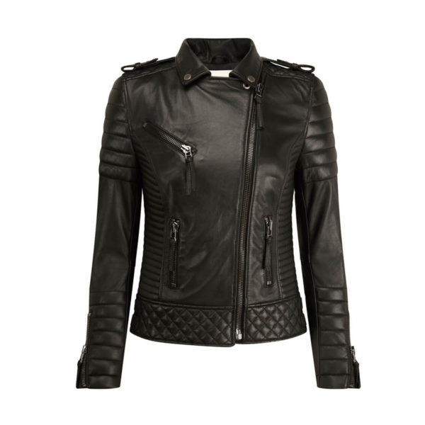 Kay-Michales-Black-Biker-Protection-Leather-Jacket