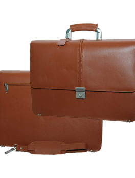 Mens-Brown-Narrow-Hard-Real-Leather-Briefcase