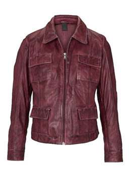 Womens-Bordeaux-Leather-Zip-Jacket