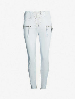 Lace-up Front High-rise Skinny Leather Trousers