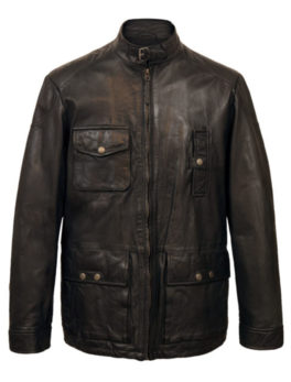 Mens-Black-Bond-Leather-Jacket