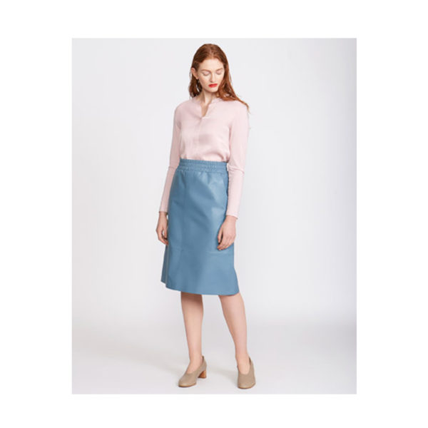 Blue Leather Elasticated Skirt