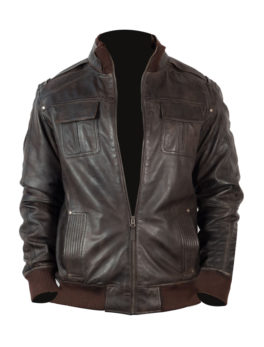 Mens-Brown-Vintage-Bomber-Jacket