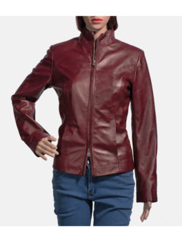 Womens-Maroon-Biker-Leather-Jacket