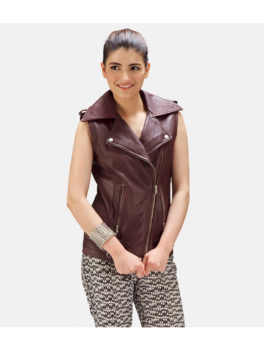 Womens-Maroon-Biker-Leather-Vest