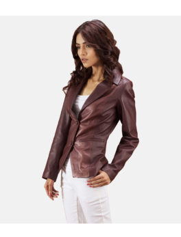 Biker-Maroon-Leather-Blazer-Jacket