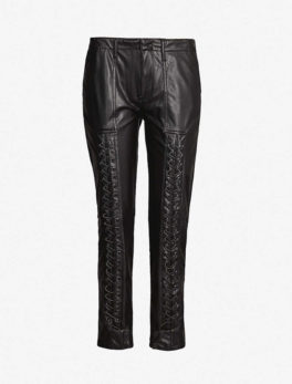 Lace-Detail Faux-Leather Trousers
