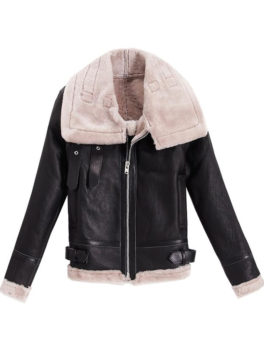 Black-Shearling-Sheepskin-Wool-Jacket