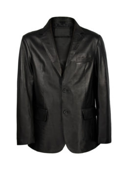 Mens-Black-Leather-Blazer-Coat