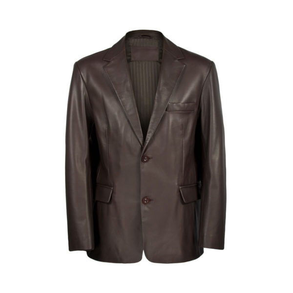 Mens-Brown-Leather-Blazer
