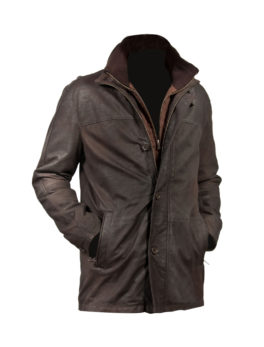 brown nubuck leather coat