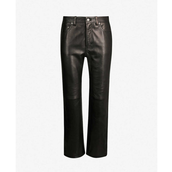 Black Lacy Straight Leather Trousers