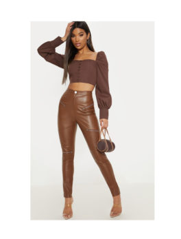 Faux Leather Biker Skinny Trouser
