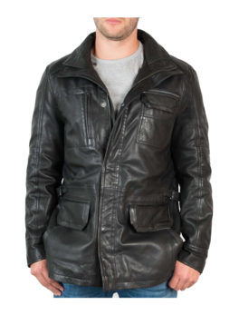 Mens-Black-Hip-Length-Leather-Jacket