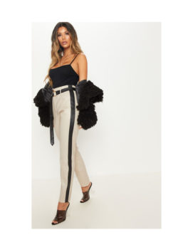 Taupe Faux Leather Side Stripe trouser