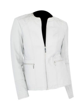 Women's Grey Quilted Biker Jacket